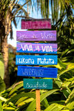 Wooden motivational sign. Wanderlust motivational sign made of wood Stock Photography