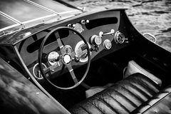 Wooden Motor Boat Dashboard - Black and White Stock Images