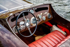 Wooden Motor Boat Dashboard Royalty Free Stock Photography