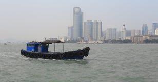 Wooden motor boat sailing Stock Photos