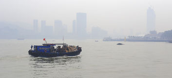 Wooden motor boats in fog Stock Images