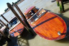 Wooden motorboat Stock Images