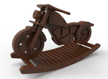 Wooden motorcycle swing. 3D rendered illustration of a wooden motorcycle swing. The composition is  on a white background with shadows Royalty Free Stock Image