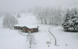 Wooden mountain chalet all blanched Royalty Free Stock Image