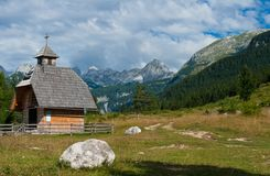 Wooden mountain church Royalty Free Stock Photography