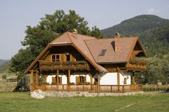 Wooden mountain house Royalty Free Stock Photos