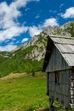 Wooden mountain hut Stock Photography