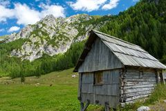 Wooden mountain hut Royalty Free Stock Photo