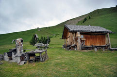 Wooden mountain shed Stock Image