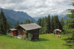 Wooden mountain shelter in the austrian alps Stock Image