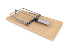 Wooden mouse trap. Wooden closeup mouse trap on a white background Stock Photo