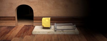 Wooden mouse trap, bait cheese, mouse hole and wooden floor background, banner. 3d illustration Stock Image