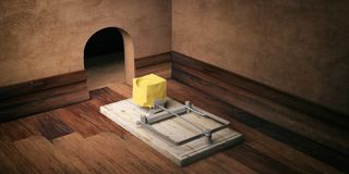 Wooden mouse trap, bait cheese, mouse hole and wooden floor background. 3d illustration Stock Photos