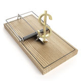 Wooden mouse trap with dollar sign. Isolated on a white background Stock Photos