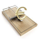 Wooden mouse trap with euro sign Stock Images