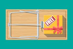 Wooden mouse trap with gift box with free sign royalty free illustration