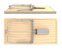 Wooden mouse trap, side and top view Royalty Free Stock Images