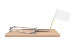 Wooden Mousetrap with Blank Flag for Your Sign. 3d Rendering Stock Photo
