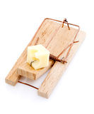 Wooden Mousetrap with Cheese Royalty Free Stock Images