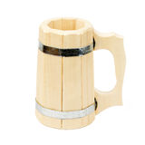 Wooden mug for a bath Royalty Free Stock Images