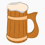 Wooden mug with beer. Cartoon Icon isolated on white background Royalty Free Stock Photos
