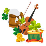 Wooden mug of beer foam, violin, clover, gold coins and the drum. Royalty Free Stock Image