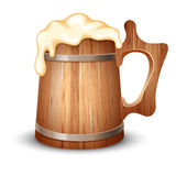 Wooden mug of beer. Wooden mug full of beer, with froth, vector illustration Royalty Free Stock Images