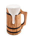 Wooden mug with beer Stock Photos