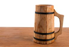 Wooden mug with beer Royalty Free Stock Photo