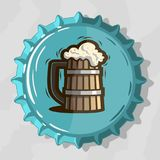 Wooden Mug Of Draft Beer With Foam On Top View Beer Bottle Cap. Vector Image Stock Images