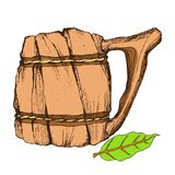 Wooden mug for drinks. Isolated object on a white background for the design of advertising beer store, dairy products stock illustration