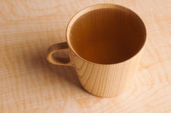 Wooden Mug with Green Tea Stock Photos