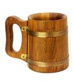 Wooden mug isolated on the white background Stock Photo