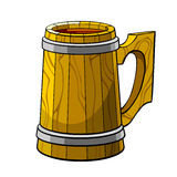 Wooden mug. A large wooden beer mug with handle Royalty Free Stock Images
