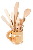 Wooden Mug With Spoons Stock Image