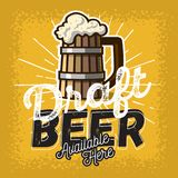 Wooden Mug Or A Tankard Of Draft Beer With Foam Poster Sign Design For Promotion. Vector Image Stock Photos