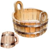 Wooden mug and wooden pelvis of sauna and spa accessories illustration. Wooden mug  and wooden pelvis of sauna and spa accessories illustration. Steam Royalty Free Stock Photography