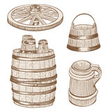 Wooden mugs, bucket, wheel, barrel drawing Stock Images