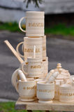 Wooden mugs Royalty Free Stock Image