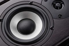 Wooden multimedia system in black close-up. Loudspeakers. Audio speakers.  royalty free stock images