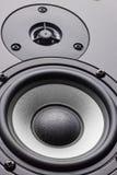 Wooden multimedia system in black close-up. Loudspeakers. Audio speakers.  stock photos