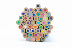 Wooden multiple colour pencils bottom view Stock Image