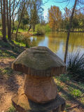 The wooden mushroom on the lake shore.  stock photography