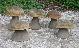Wooden Mushroom Seats. Royalty Free Stock Photo