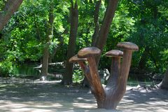 Wooden mushrooms monument Royalty Free Stock Images