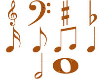 Wooden Music Notes. Isolated in white Royalty Free Stock Images