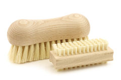 A wooden nail brush and a wooden household brush Stock Images