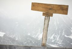 Wooden Nameplate. In the Mountains Stock Photos