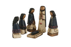 Wooden Nativity. Hand carved nativity from Ecuador, isolated Royalty Free Stock Photography