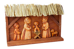 Wooden Nativity Scene. Picture of wooden Nativity Scene, handcarved, horizontal shot Royalty Free Stock Images